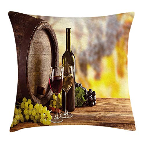 K0k2t0 Wine Throw Pillow Cushion Cover, Red and White Wine Bottle Glass on Wooden Keg Quality Taste Traditional, Decorative Square Accent Pillow Case, 18 X 18 inches, Brown Light Green Yellow -