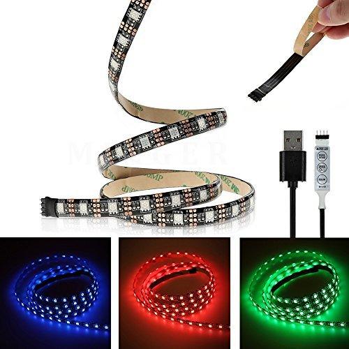 Minger 5050 USB Tira LED Luz, 100cm 60leds RGB TV ambiente de iluminación USB Cable Puerto Para TV, Laptop, Decoración Para Fiestas