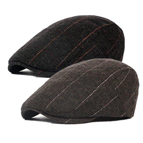 Decstore Paquete de 5 Hombres Beret de Algodón Plano Tapa Ivy Cabbie  Newsboy Hat Otoño Verano Sombrero 5bdb5243419