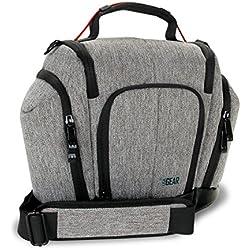 USA Gear Kameratasche für Spiegelreflexkameras: Kompakter DSLR Sling Bag mit wetterfestem Boden, gepolsterten Innen- und Seitenfächern, Grau, passend für Nikon D500, Canon EOS 1300D und mehr