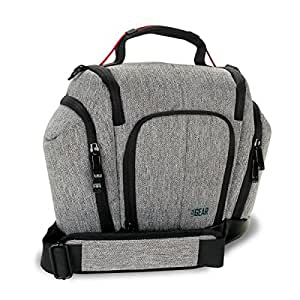 USA Gear DSLR Camera Bag Sling (Grey) with Weather Resistant Bottom, Soft Cushioned Interior and Side Lens Storage Pockets - Works Great for Nikon D3400 , Canon EOS 1300D , Sony Cyber-Shot and More