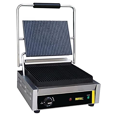 Buffalo Bistro Contact Grill Large Ribbed 210X380X390mm Barbecue