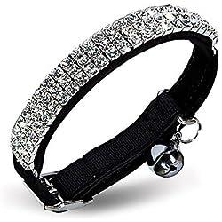 chukchi terciopelo suave seguro gato ajustable collar bling diamante con cascabeles, 11pulgadas para perros pequeños y gatos