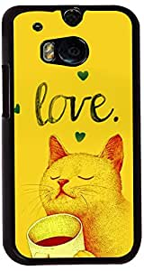 PrintVisa Cartoon Kitty Love Case Cover for HTC One M8