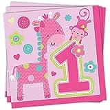 One Wild Girl - Servietten, 16er Pack, ca. 33cm x 33cm - Tischdekoration zum 1. Geburtstag