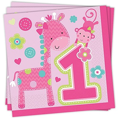 Preisvergleich Produktbild One Wild Girl - Servietten,  16er Pack,  ca. 33cm x 33cm - Tischdekoration zum 1. Geburtstag