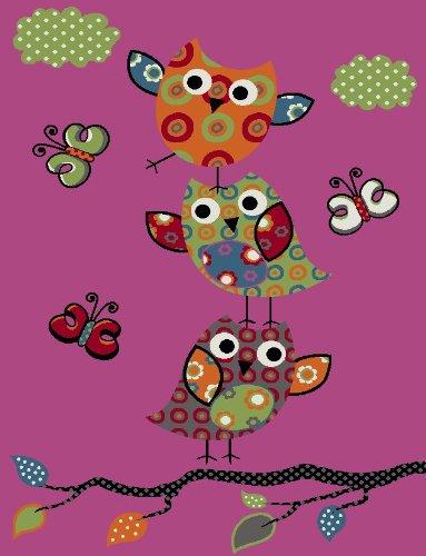 Kinder Teppich Niedliche Eulen Pink Fuchsia Gruen Blau, Grösse:120x170 cm
