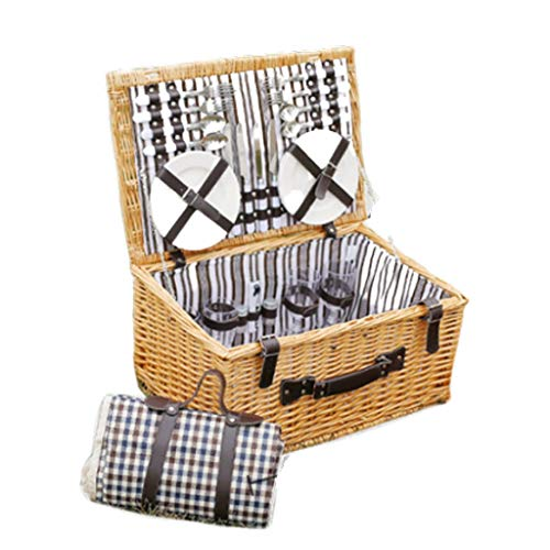 4-korb-speicher-warenkorb (JQHLJYCL Korb, Picknickkorb großer Speicher tragbarer Korb Picknickkorb Rattangarten Picknickbox mit Deckel für vier Personen im Freien)