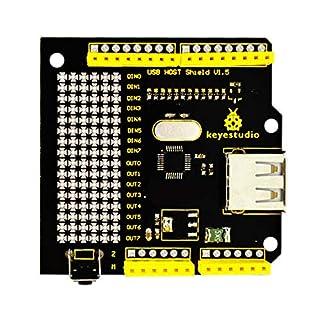 keyestudio USB Host Shield ADK Shield Communicate with USB Flash Disk, Keyboards, Mice, Joysticks, Digital cameras for Arduino UNO MEGA R3 Mega2560