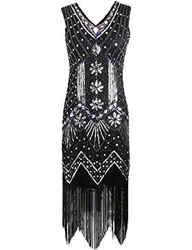 Kayamiya Damen 1920er Pailletten Perlen Floral Verschönert Fransen Gatsby Flapper Kleid