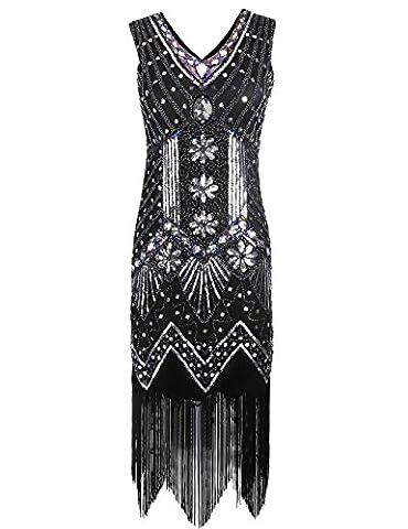 Kayamiya Women's 1920S Sequined Floral Embellished Fringe Gatsby Flapper Evening Dress XL Black