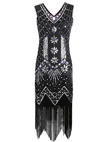 Kayamiya Damen 1920er Pailletten Perlen Floral Verschönert Fransen Gatsby Flapper Kleid S (Flapper Mädchen Kostüme Kleines)