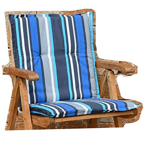 2 Auflagen für Sessel niedrig 100x50x4 cm in grau blau gestreift SUN GARDEN Villach 20579-110 ohne...