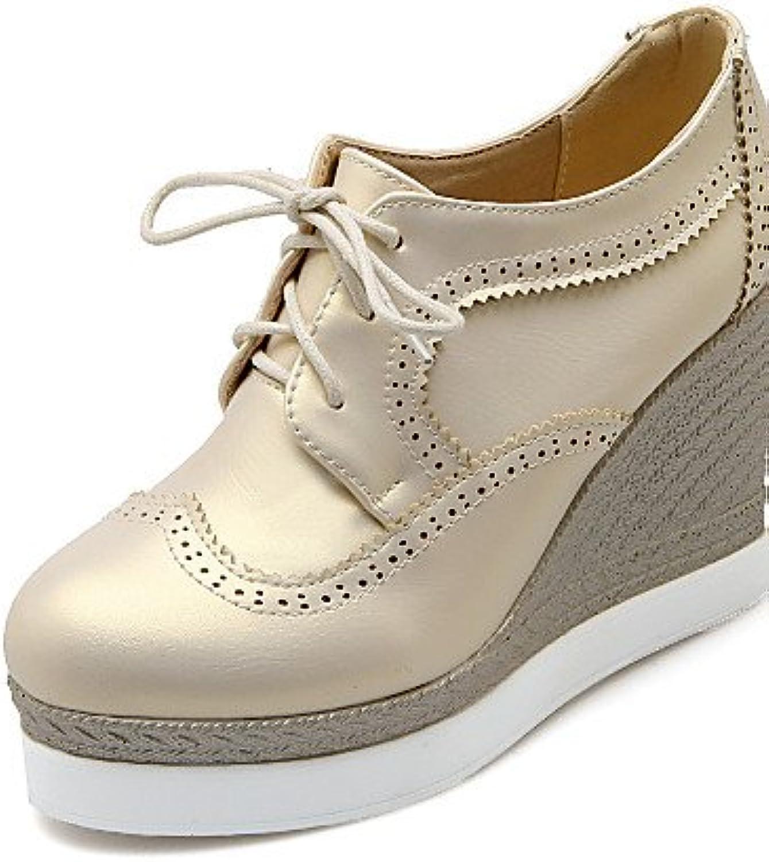 ZQ hug Zapatos de mujer-Tacón Cuña-Cuñas-Tacones-Casual-Semicuero-Negro / Blanco / Oro , golden-us5 / eu35 / uk3...
