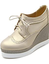ZQ hug Zapatos de mujer-Tacón Cuña-Cuñas / Plataforma / Punta Redonda-Oxfords-Exterior / Vestido-Semicuero-Negro / Blanco , black-us5 / eu35 / uk3 / cn34 , black-us5 / eu35 / uk3 / cn34