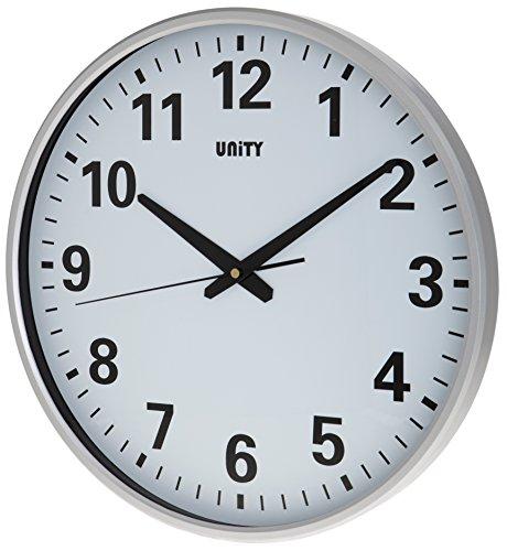 unity tejo quadrante trasparente ultra silenzioso orologio da parete ampie, argento, 38cm x-large