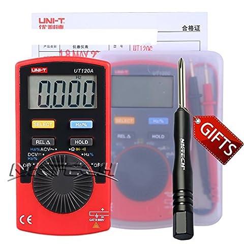 Nktech Tl-1Tournevis Uni-T Ut120a Mini Pocket Handheld Autorange multimètre numérique AC/DC Tension Résistance de fréquence Duty testeur de diodes Mètre Buzzer on/off