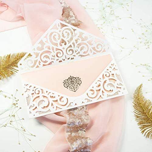 Fai da te apribile taglio laser invito color crema partecipazioni matrimonio carta pesca con busta - campione prestampato !!