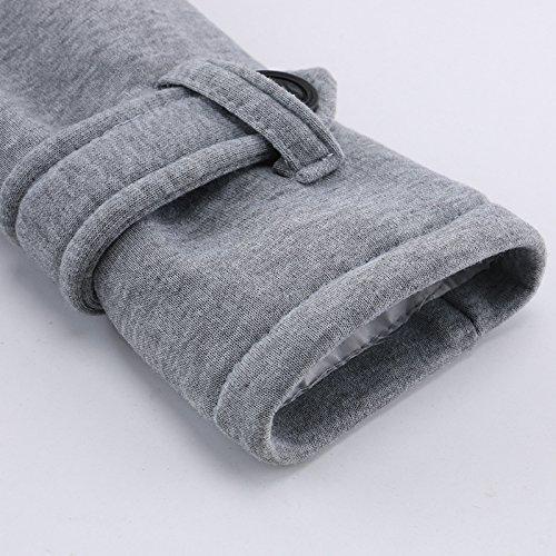 iBaste Winter Mantel Parka Jacke Dufflecoat Zipper mit Kapuze Große Größen Grau