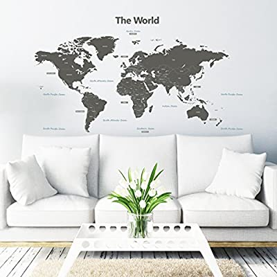 Decowall Moderne Graue Weltkarte Wandtattoo Wandsticker Wandaufkleber Wanddeko für Wohnzimmer Schlafzimmer Kinderzimmer (1509G/B 1609G/S) von DECOWALL - TapetenShop