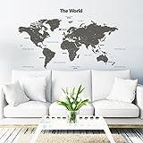 Decowall DLT-1609G Mappa del Mondo Moderno Grigio Adesivi da Parete Decorazioni Parete Stickers Murali Soggiorno Asilo Nido Camera da Letto per Bambini (Extra Grande) (Ver. Inglese)