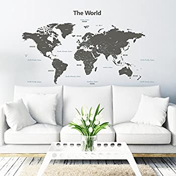 Decowall DLT 1609G Modern Grey World Map Kids Wall Stickers Wall Decals  Peel And Stick Removable Wall Stickers For Kids Nursery Bedroom Living Room  (Xlarge) Part 62