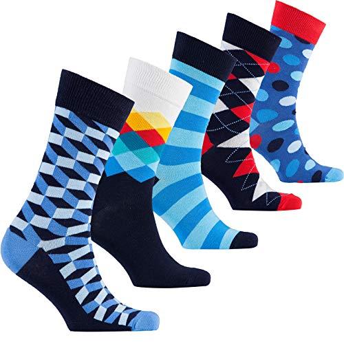 socks n socks-Herren 5-Paar Luxus Spaß Cool Bunte Kleid Baumwollsocken Geschenkbox