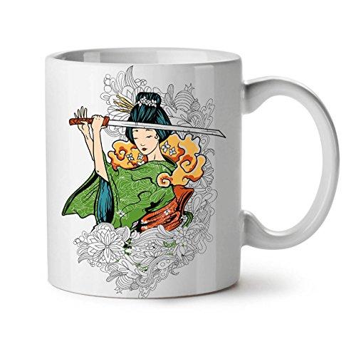 Wellcoda Katana Geisha Kunst Fantasie Keramiktasse, Katana - 11 oz Tasse - Großer, Easy-Grip-Griff, Zwei-seitiger Druck, Ideal für Kaffee- und Teetrinker (Moderne Ninja Kostüm)