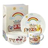 Little Rhymes Churchill China Juego de plato, taza y tazón para el desayuno (porcelana), diseño de arca de Noé, color blanco