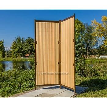 raumteiler r gen 160 x 130cm teak braun 2 teilig paravent raumteiler mobile sichtschutzwand. Black Bedroom Furniture Sets. Home Design Ideas