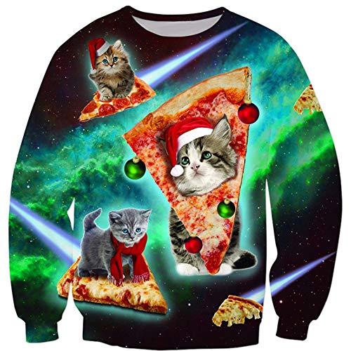 ZM Weihnachts-Kostüm, Cat Christmas 3D Printed Sweater Round Collar Long ()