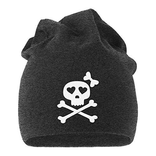 coole Beanie aus weichem Jersey mit Totenkopf Knochen Bones Skull Girl Pirat, bedruckte Mütze für Herren und Damen, Moonworks® dunkelgrau (Piraten Outfit Männer)