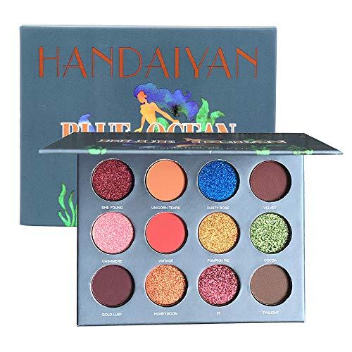 Cooljun Palette de maquillage pour les yeux, 7 Glitter et 5 Ombre à paupières Matt & Shimmer, Palette de maquillage hautement pigmentée (B)