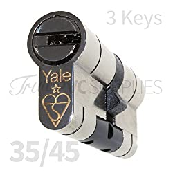 35/45 Nickel YALE Superior Euro Cylinder with 3 Keys Anti Snap/Bump / Pick/Drill / Pull High Security uPVC Composite Door Barrel Profile Lock