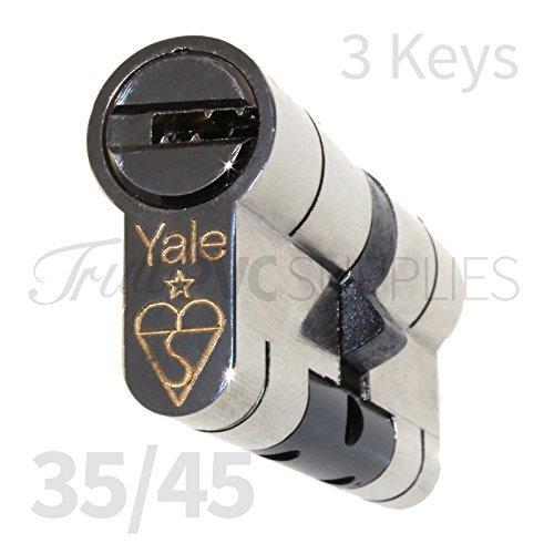 Yale - Bombín europeo de alta calidad, de níquel 35/45, con 3 llaves, protección contra el forzado y la perforación, alta seguridad, compuesto de uPVC, cerradura de cilindro de puerta