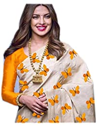 Nena Fashion Cotton Silk Saree With Blouse Piece (Titli_yellow_Yellow_Free Size)