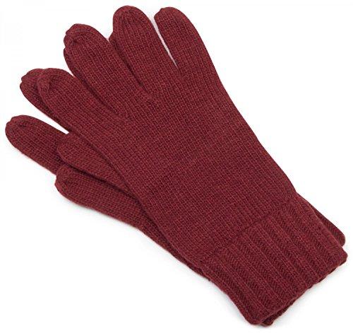 che Handschuhe, warme Strickhandschuhe mit doppeltem Bund, einfarbig, Unisex 09010005, Farbe:Dunkelrot;Größe:S-M ()