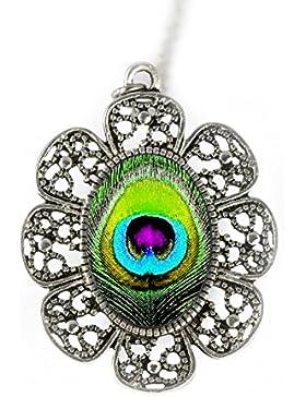 Grün Pfau Feder Antik Silber Kette mit einem handgemachten Anhänger von Tizi Jewellery für Damen und Mädchen Geschenk...