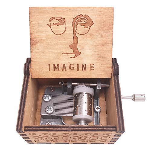 Youtang Caja de música manivela Caja Musical Tallada Madera Regalo Musical Play Imagine, Madera, marrón, marrón