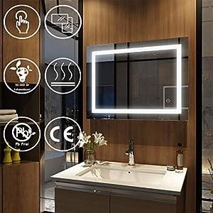 EMKE Wandspiegel Badezimmerspiegel LED Badspiegel mit Beleuchtung 80x60x4,5cm mit Touch-Schalter und Beschlagfrei, Lichtspiegel Kaltweiß 6400K