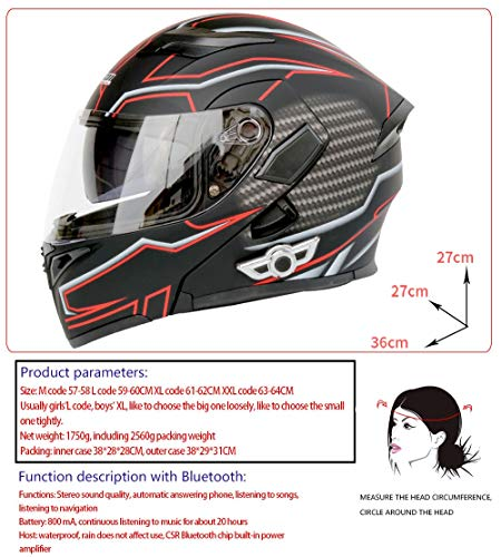 Light Anti-Fog Doppelobjektiv Motorrad Bluetooth Helm Elektrischer Motorradhelm Bequemer Atmungsaktiver Kontrabass Comfortable (Color : Black, Size : XL)