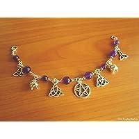 Pagan celtic bracelet witch jade beads handmade