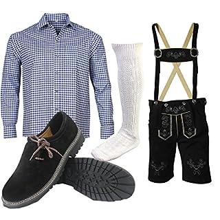 ALL THE GOOD S 7 Trachtenset (Hose +Hemd +Schuhe +Socken) Bayerische Lederhose Trachtenhose Oktoberfest Leder Hose Trachten (Hose 54 Hemd 42/43)