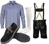 ALL THE GOOD S 7 Trachtenset (Hose +Hemd +Schuhe +Socken) Bayerische Lederhose Trachtenhose Oktoberfest Leder Hose Trachten (Hose 46 Hemd 36/37)