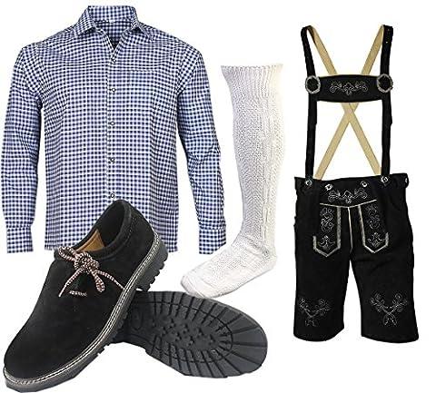 S 7 Trachtenset (Hose +Hemd +Schuhe +Socken ) Bayerische Lederhose Trachtenhose Oktoberfest Leder Hose Trachten (Hose 56 Hemd (Tracht Oktoberfest)