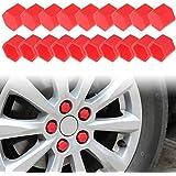 Larcele Silicona rueda de tuerca de la tuerca cubre 17mm 20 piezas LSBHT-01 (Rojo)