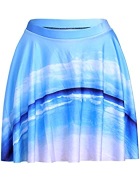 Honghu Verano Simple Mini Kitt Plisada Impresión Falda para Mujer