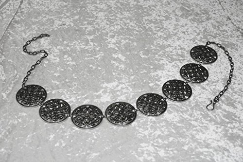 Dark Dreams Gothic Mittelalter LARP Gewandgürtel Fleur altsilber, Länge:110 cm - 3