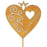 Schild Willkommen Gartenstecker mit Herz in Rostoptik Gartendeko Metall mit Krone. Von Haus der Herzen®