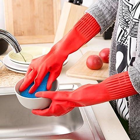 YOKIRIN Rot Verlängern Verdicken Emulsion Handschuhe Haushaltshandschuhe Kautschuk Handschuhe Geschirrspülen